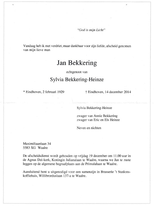 Rouwkaart Jan Bekkering